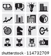 vector black business icons set on gray - stock photo