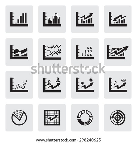 Vector black Business Infographic icon set on white background - stock vector