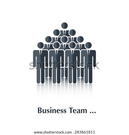 Vector  black business people icon,pictogram.Concept teamwork, business team,over white with text Business team,in flat stile