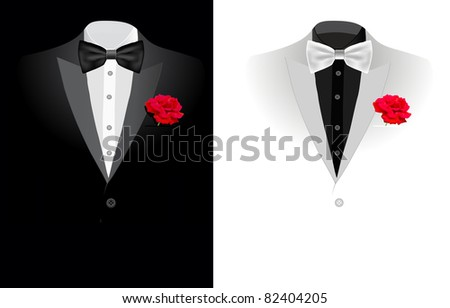 vector black business suit on black and on white background - stock vector