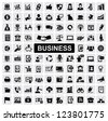 vector black business web icons set on gray - stock