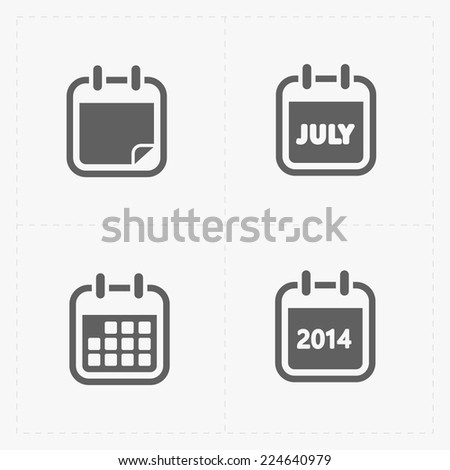 Vector Black Calendar Icons - stock vector