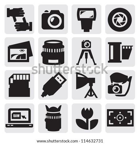 vector black camera icon set on gray - stock vector