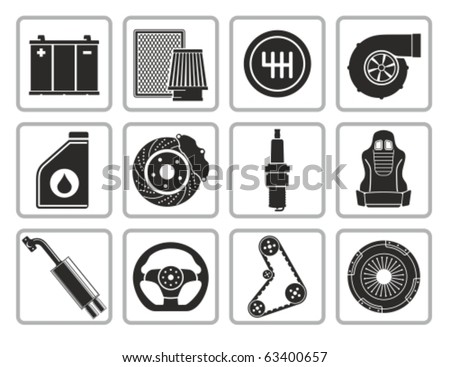 Vector black car parts icons set. - stock vector