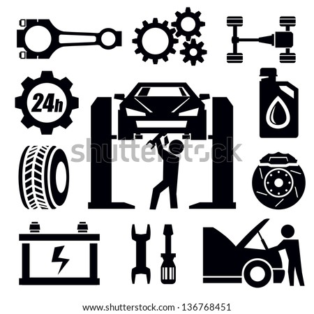 vector black car repair icon set on white - stock vector