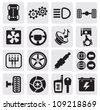 vector black car repair icons in the gray squares - stock photo