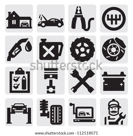 vector black car service icon set on gray - stock vector
