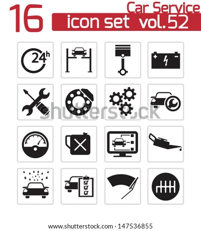 Vector black car service icons set - stock vector