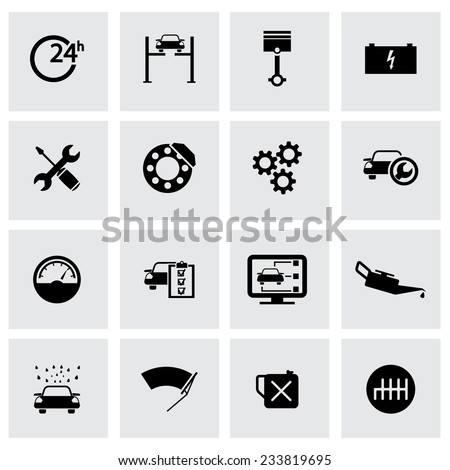 Vector black car service icons set on grey background - stock vector
