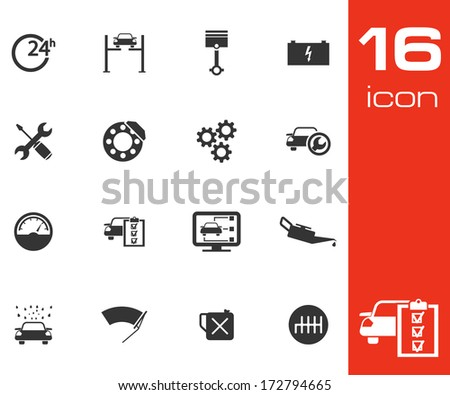 Vector black car service set on white background - stock vector