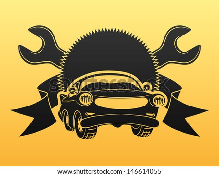 Vector. Black car sign. - stock vector