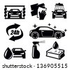 vector black car wash icons set on white - stock vector