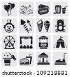 vector black carnival icons set in the gray squares - stock