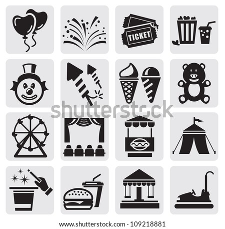 vector black carnival icons set in the gray squares - stock vector