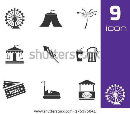 Vector black carnival icons set on gray background - stock vector