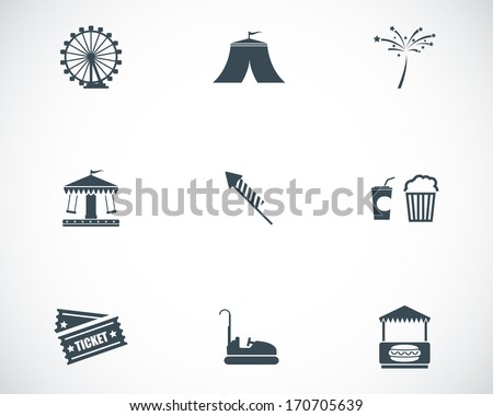 Vector black carnival icons set on white background - stock vector