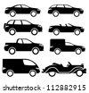 Vector. 8 black cars. - stock vector