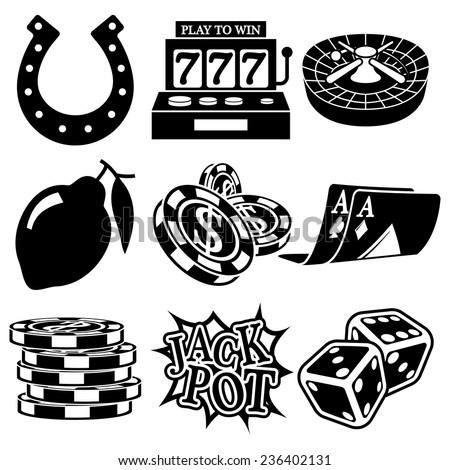 Vector black casino icons set on white - stock vector