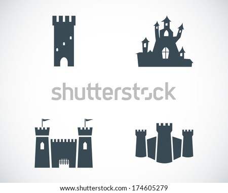 Vector black castle icons set on white background - stock vector