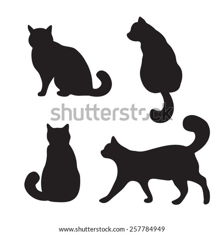 Vector black cats illustration isolated on white - stock vector