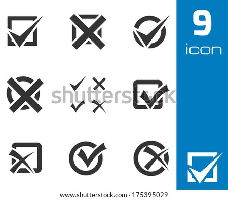 Vector black check marks icons set on white background - stock vector
