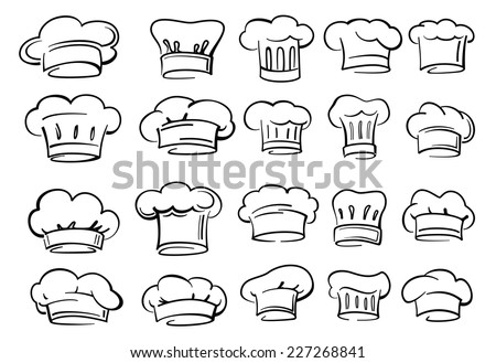 vector black Chef hat icon on white background - stock vector