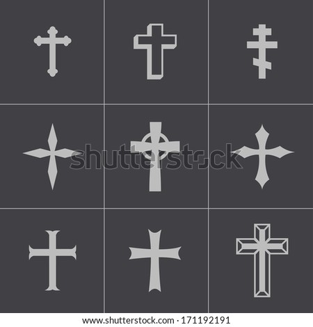Vector black christian crosses icons set on gray background.