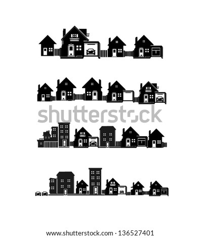vector black city icons set 2 - stock vector