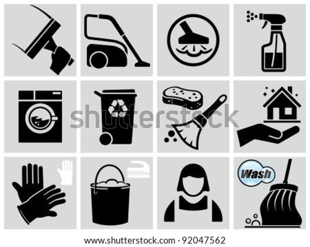 Vector black cleaning icons set. - stock vector
