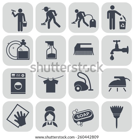 Vector black cleaning icons set on gray. - stock vector