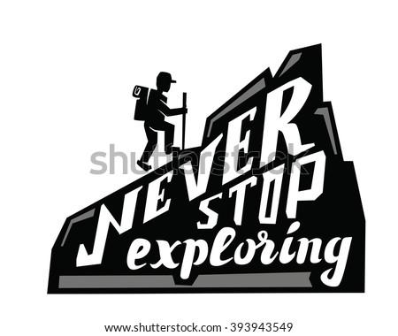 vector black climber on a mountain  white background - stock vector