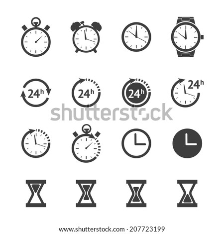 Vector black clock icons set isolated on white background - stock vector