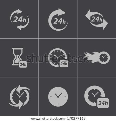 Vector black clock icons set on gray background