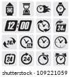 vector black clocks icons in the gray squares - stock photo