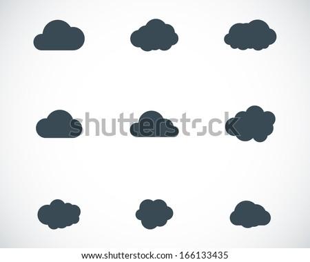Vector black cloud icons set - stock vector