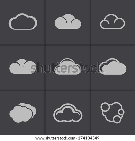 Vector black cloud icons set on white background.
