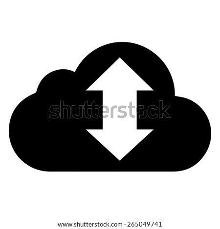 vector black cloud with arrow icon on white background. eps 10 - stock vector