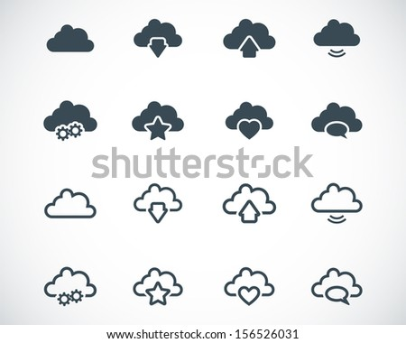 Vector black  clouds  icons set - stock vector