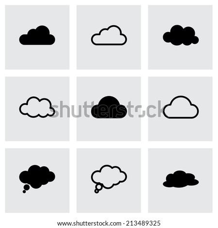 Vector black clouds  icons set on grey background - stock vector