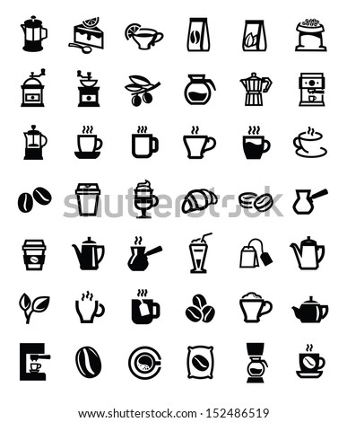 vector black coffee and tea icons set on white - stock vector