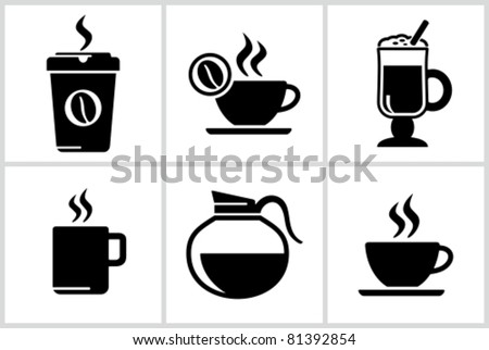 Vector black coffee icons set. All white areas are cut away from icons and black areas merged. - stock vector