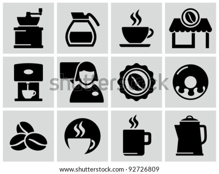 Vector black coffee shop icons set. - stock vector