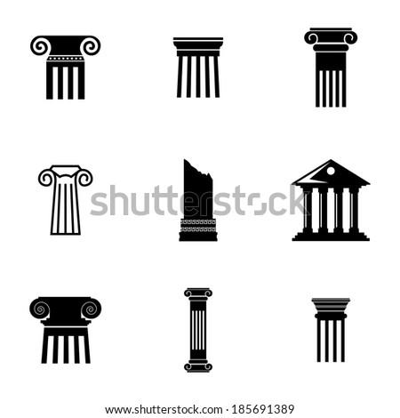 Vector black column icons set on white background - stock vector