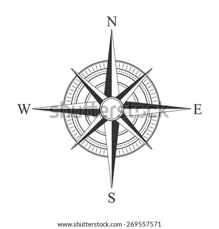 Vector black compass icons. - stock vector