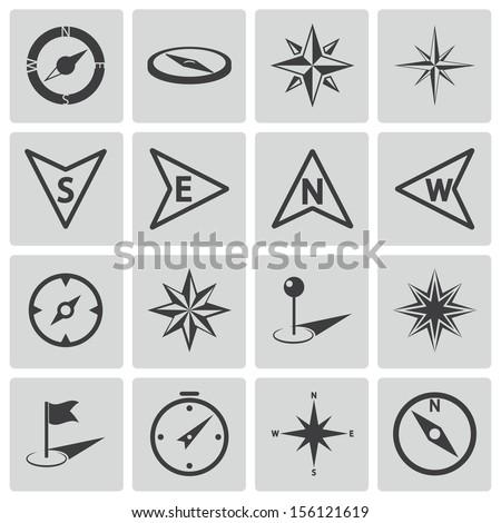 Vector black compass icons set - stock vector