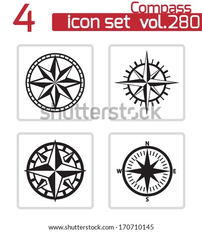 Vector black compass icons set on white background - stock vector