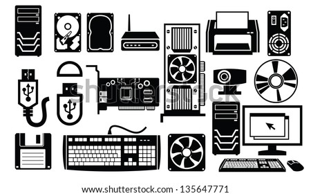 vector black computer hardware icon set on white - stock vector
