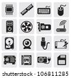 vector black computer icons set - stock vector