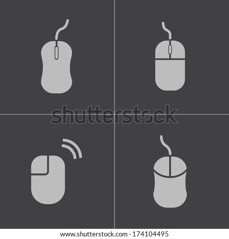 Vector black computer mouse icons set on white background - stock vector