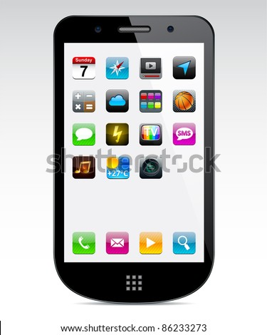 Vector black Concept communicator with app icons. - stock vector